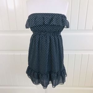 Forever 21 Black Strapless Polka Dot Ruffle Dress